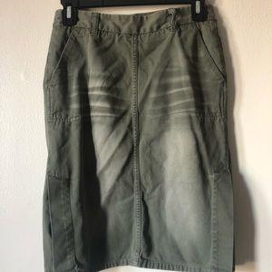 ❤️Green Military Skirt Pockets Slits Distressed 4